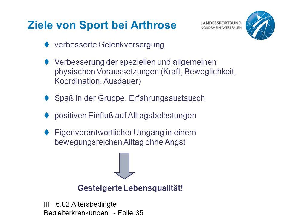 Ziele von Sport bei Arthrose