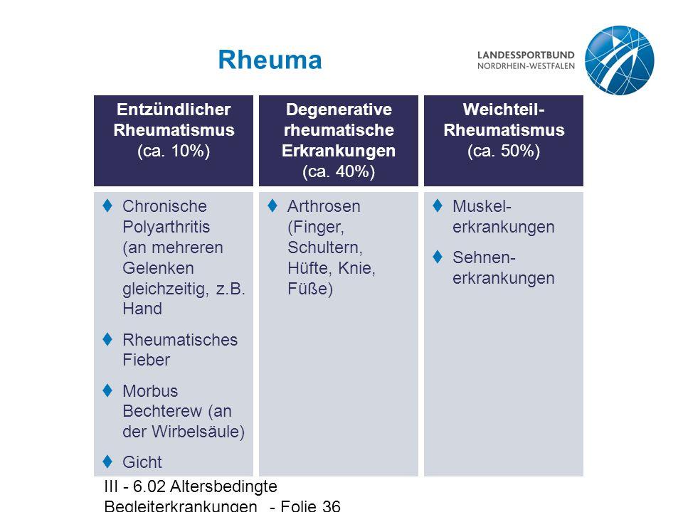 Rheuma Entzündlicher Rheumatismus (ca. 10%)