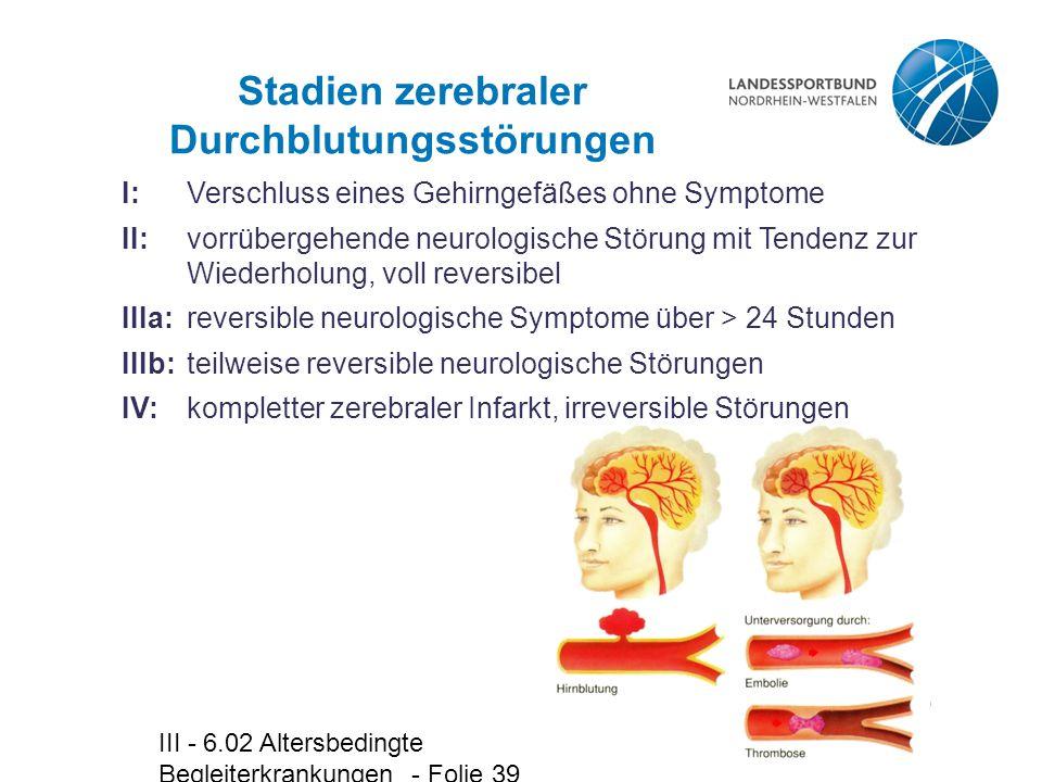 Stadien zerebraler Durchblutungsstörungen