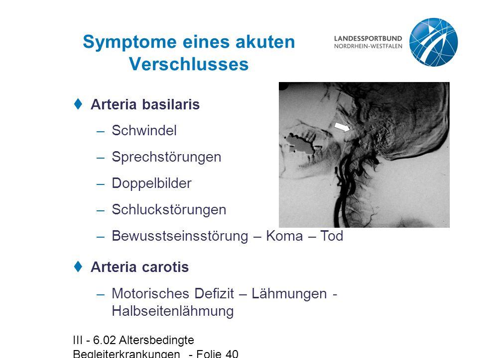 Symptome eines akuten Verschlusses