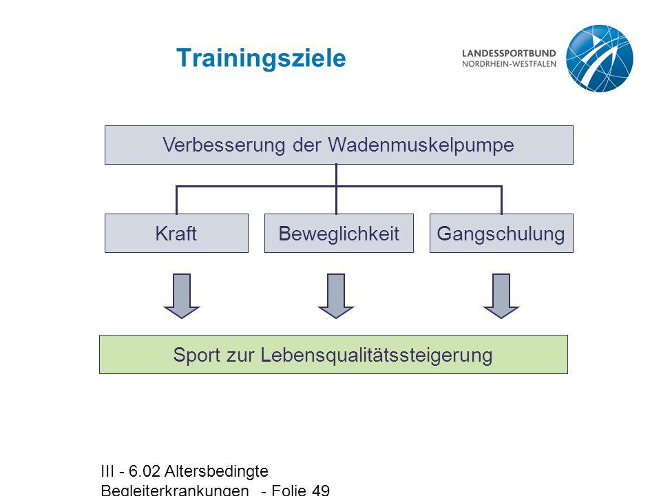 Trainingsziele Verbesserung der Wadenmuskelpumpe Kraft Beweglichkeit