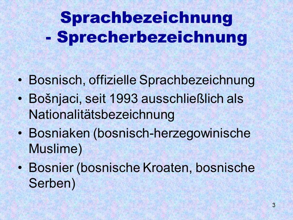 Sprachbezeichnung - Sprecherbezeichnung
