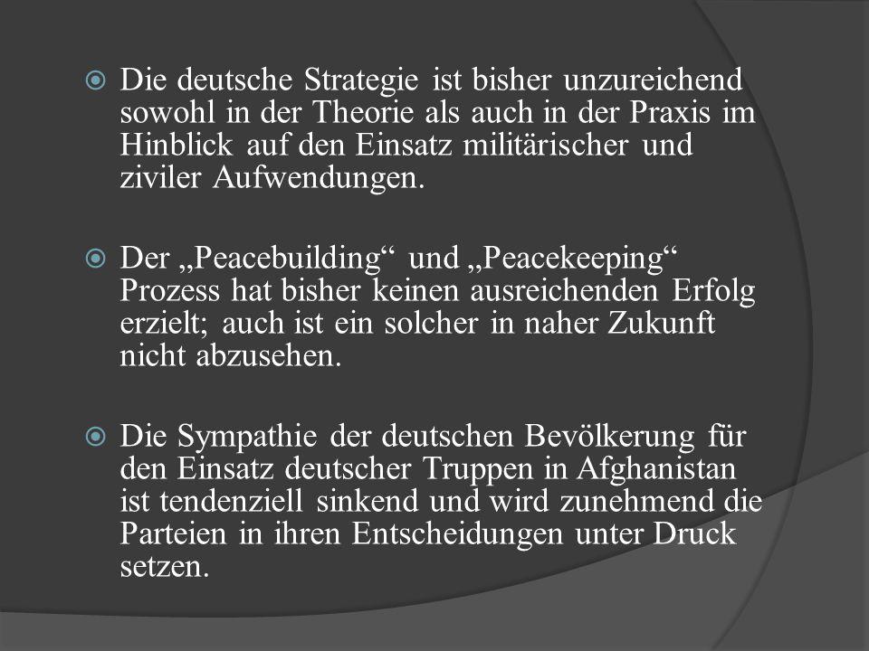 Die deutsche Strategie ist bisher unzureichend sowohl in der Theorie als auch in der Praxis im Hinblick auf den Einsatz militärischer und ziviler Aufwendungen.