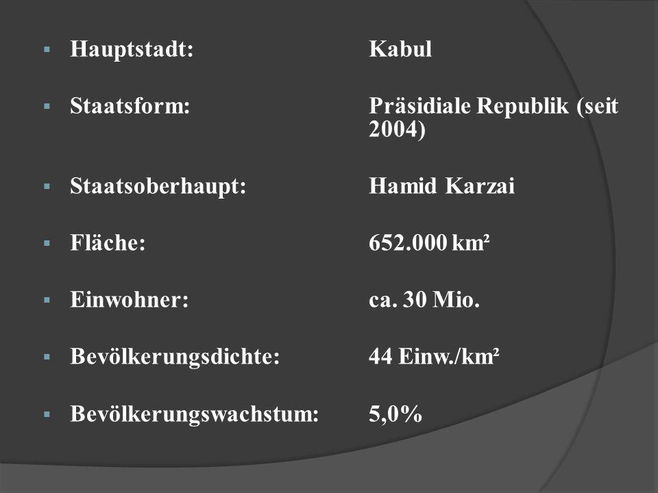 Hauptstadt: Kabul Staatsform: Präsidiale Republik (seit 2004) Staatsoberhaupt: Hamid Karzai.