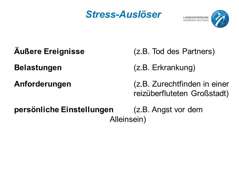 Stress-Auslöser Äußere Ereignisse (z.B. Tod des Partners)