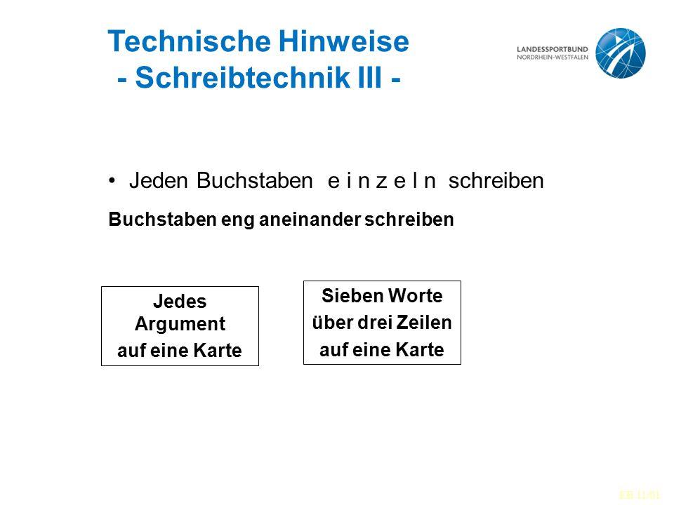Technische Hinweise - Schreibtechnik III -