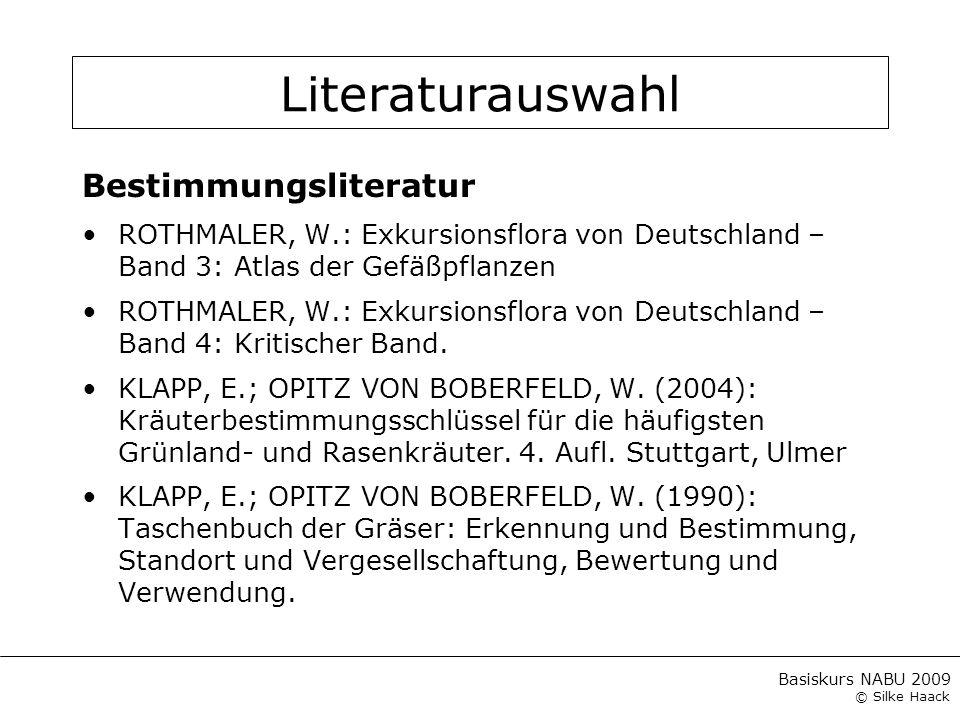 Literaturauswahl Bestimmungsliteratur