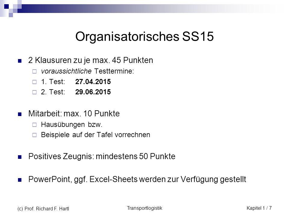 Organisatorisches SS15 2 Klausuren zu je max. 45 Punkten