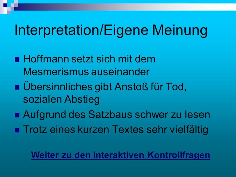 Interpretation/Eigene Meinung