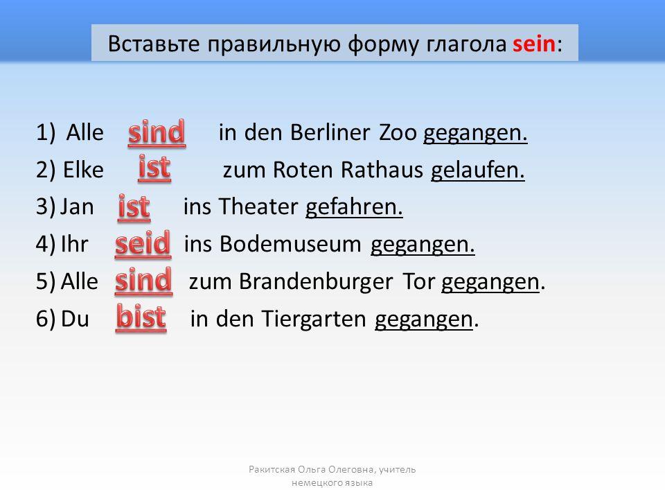 Вставьте правильную форму глагола sein: