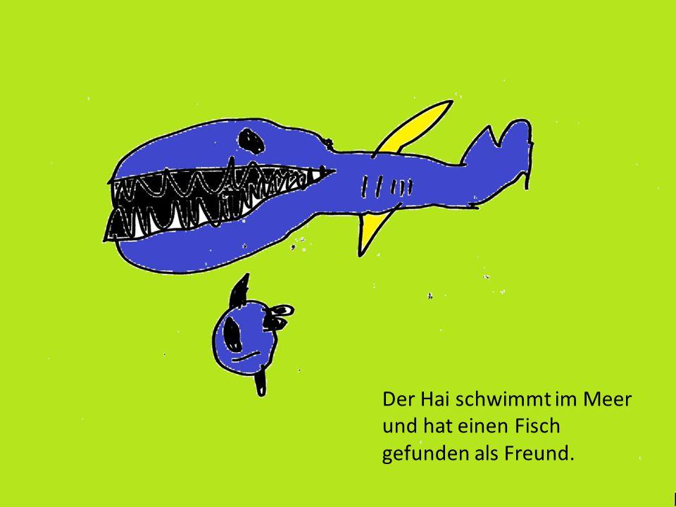 Der Hai schwimmt im Meer und hat einen Fisch gefunden als Freund.