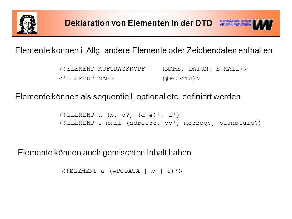 Deklaration von Elementen in der DTD