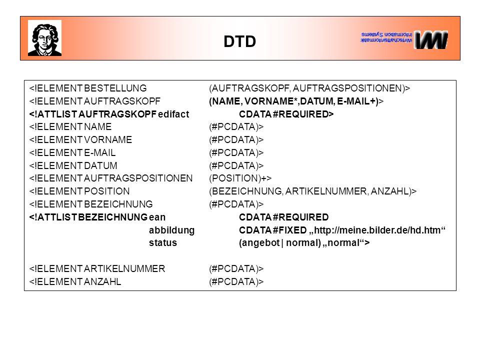 DTD <!ELEMENT BESTELLUNG (AUFTRAGSKOPF, AUFTRAGSPOSITIONEN)>