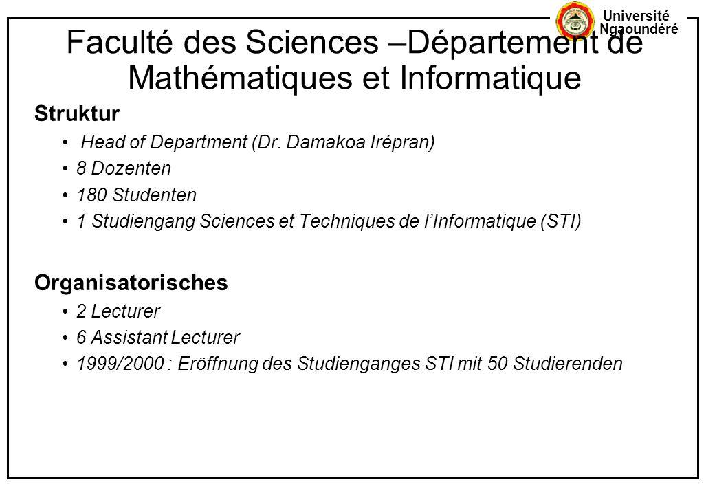 Faculté des Sciences –Département de Mathématiques et Informatique