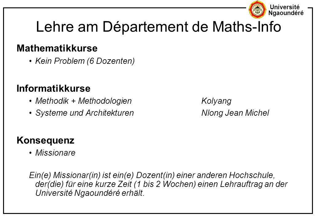 Lehre am Département de Maths-Info
