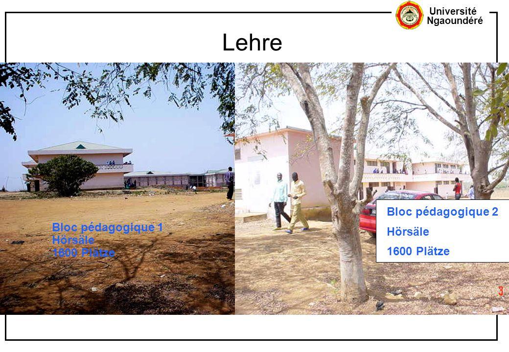 Lehre Bloc pédagogique 2 Hörsäle Bloc pédagogique 1 1600 Plätze