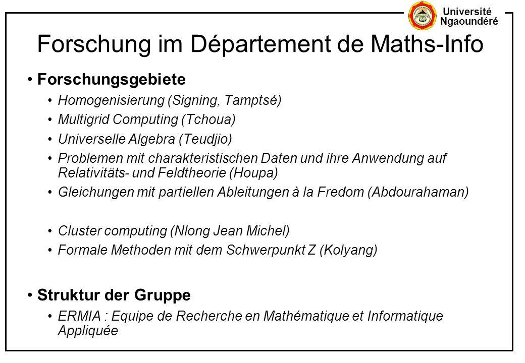 Forschung im Département de Maths-Info