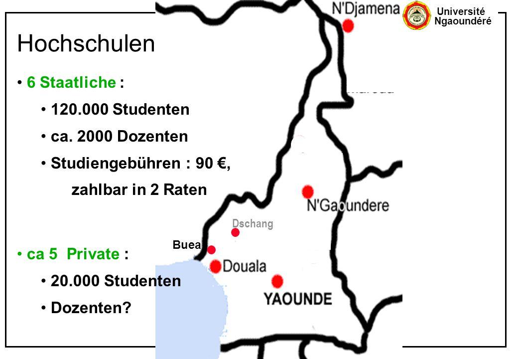 Hochschulen 6 Staatliche : 120.000 Studenten ca. 2000 Dozenten