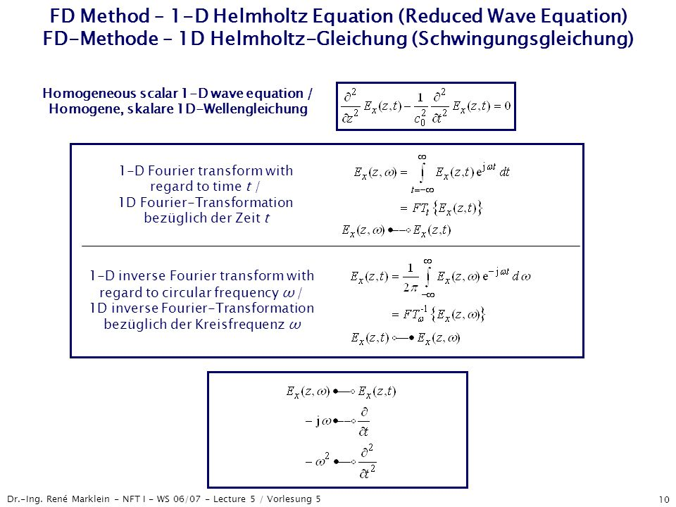 FD Method – 1-D Helmholtz Equation (Reduced Wave Equation) FD-Methode – 1D Helmholtz-Gleichung (Schwingungsgleichung)