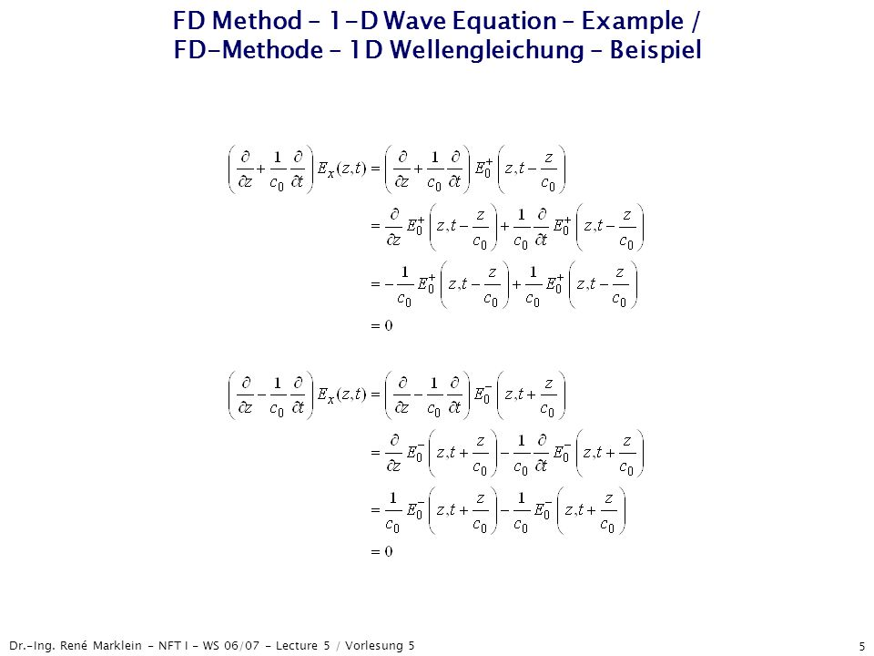 FD Method – 1-D Wave Equation – Example / FD-Methode – 1D Wellengleichung – Beispiel