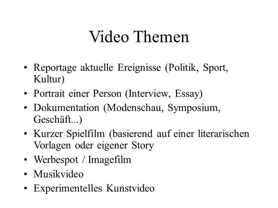 Video Themen Reportage aktuelle Ereignisse (Politik, Sport, Kultur)
