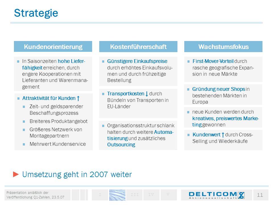 Strategie ► Umsetzung geht in 2007 weiter Kundenorientierung