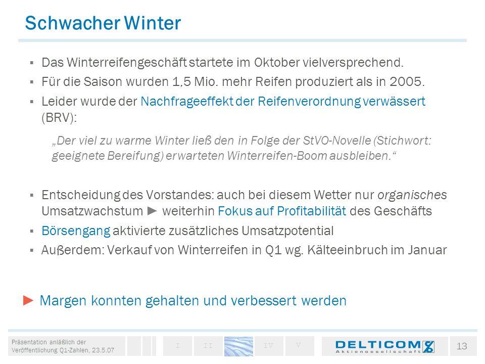 Schwacher Winter Das Winterreifengeschäft startete im Oktober vielversprechend. Für die Saison wurden 1,5 Mio. mehr Reifen produziert als in 2005.