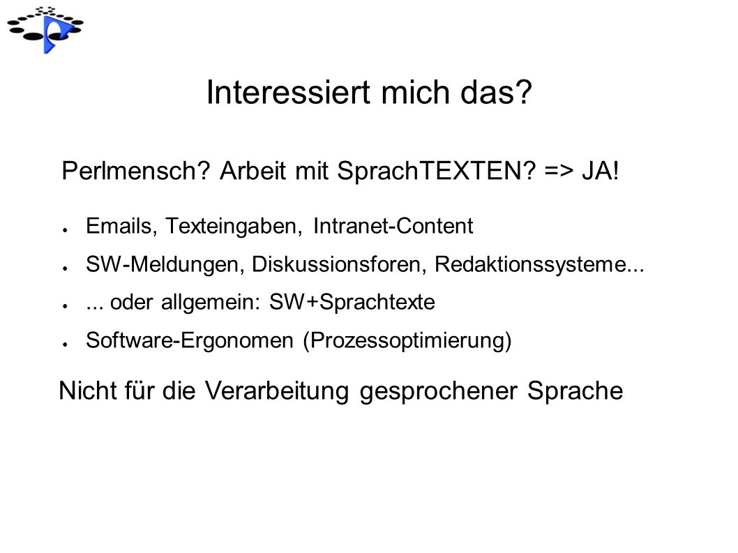 Interessiert mich das Perlmensch Arbeit mit SprachTEXTEN => JA!