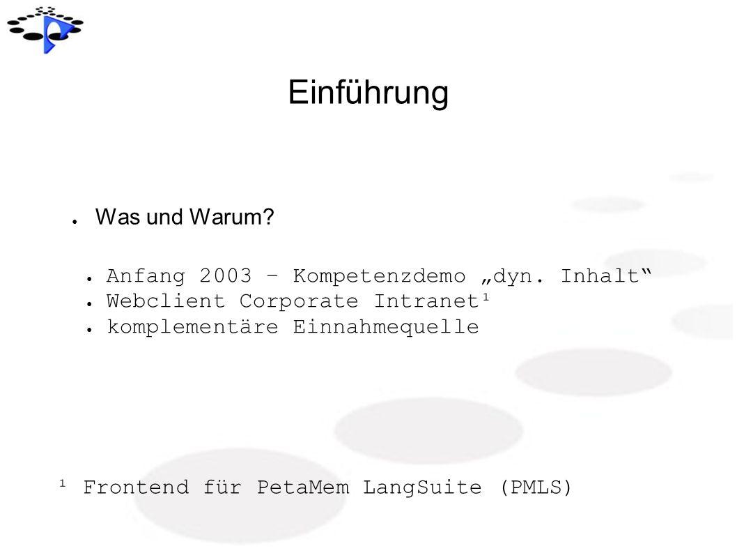 """Einführung Was und Warum Anfang 2003 – Kompetenzdemo """"dyn. Inhalt"""