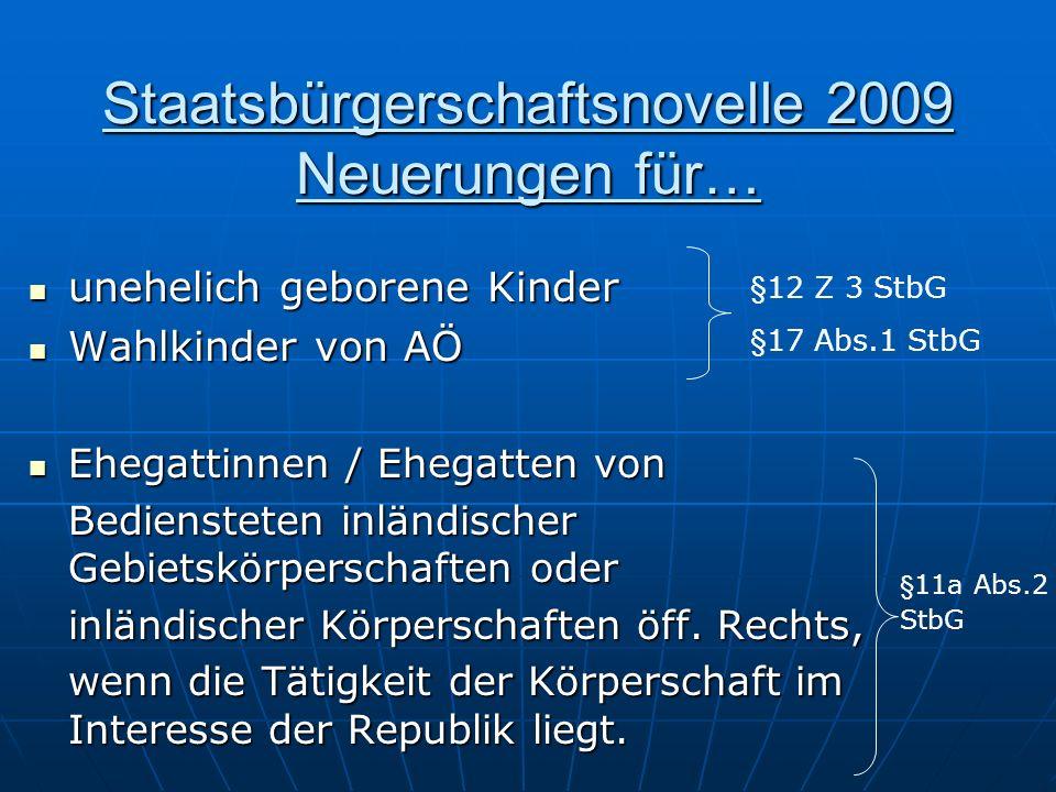 Staatsbürgerschaftsnovelle 2009 Neuerungen für…