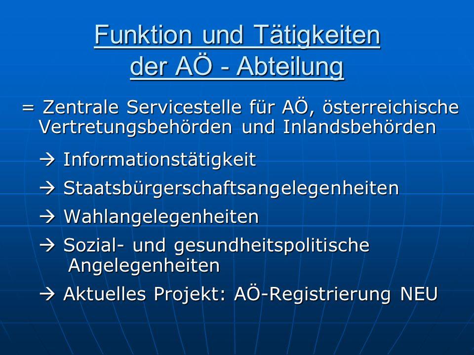 Funktion und Tätigkeiten der AÖ - Abteilung