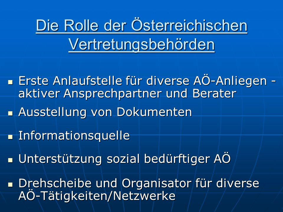 Die Rolle der Österreichischen Vertretungsbehörden