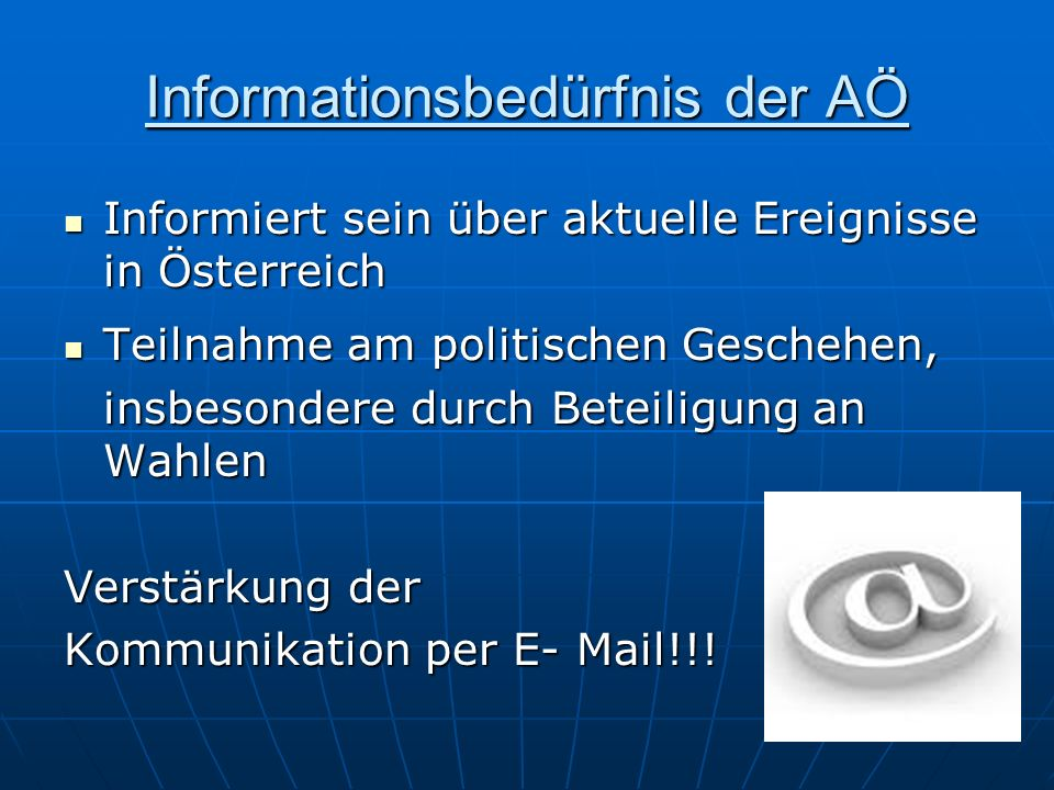 Informationsbedürfnis der AÖ