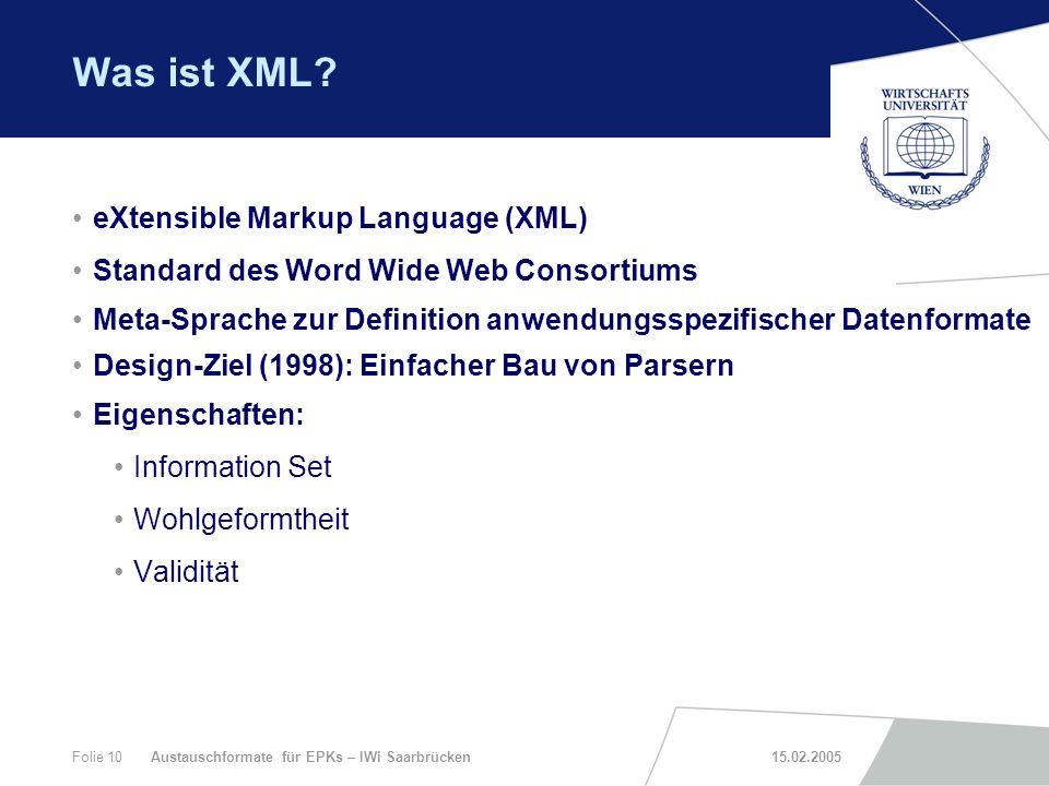 Was ist XML eXtensible Markup Language (XML)