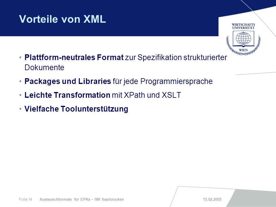 Vorteile von XML Plattform-neutrales Format zur Spezifikation strukturierter Dokumente. Packages und Libraries für jede Programmiersprache.