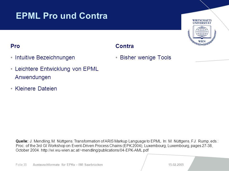 EPML Pro und Contra Pro Intuitive Bezeichnungen