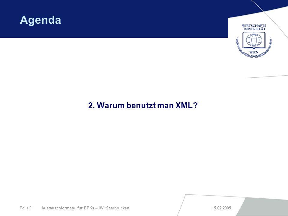 Agenda 2. Warum benutzt man XML