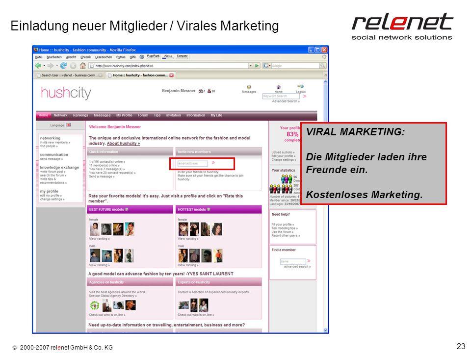Einladung neuer Mitglieder / Virales Marketing