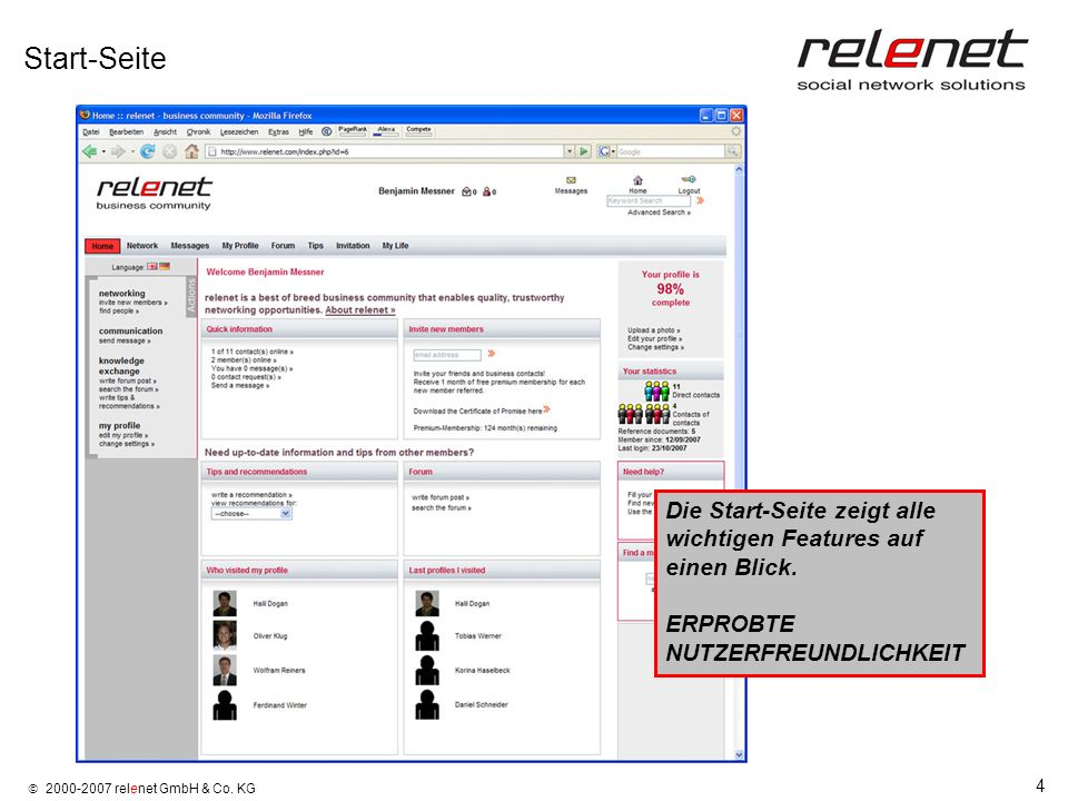Start-SeiteDie Start-Seite zeigt alle wichtigen Features auf einen Blick.