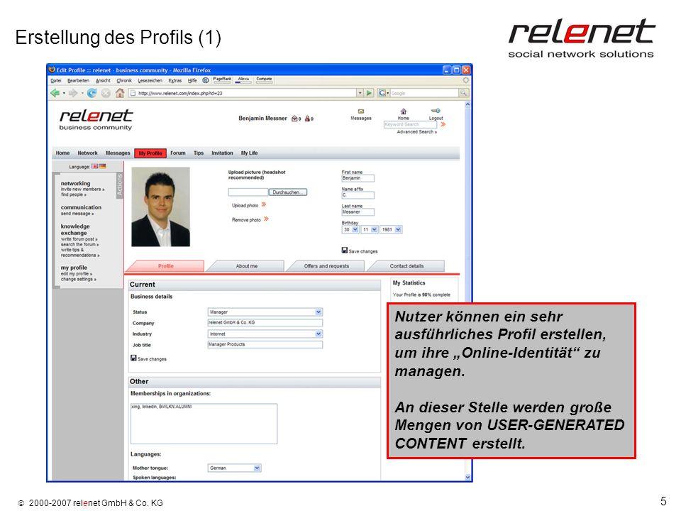 Erstellung des Profils (1)
