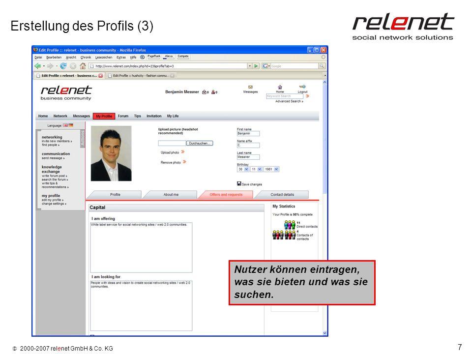 Erstellung des Profils (3)