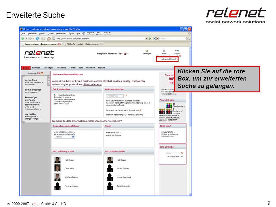 Erweiterte Suche Klicken Sie auf die rote Box, um zur erweiterten Suche zu gelangen.