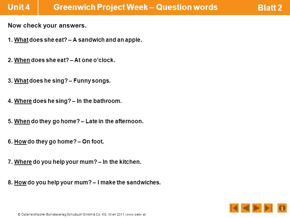 Unit 4 Greenwich Project Week – Question words Blatt 2