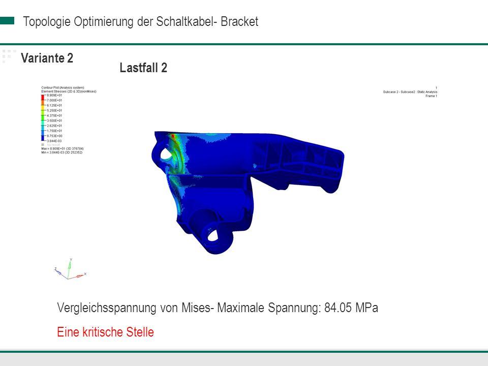Variante 2 Lastfall 2. Vergleichsspannung von Mises- Maximale Spannung: 84.05 MPa.