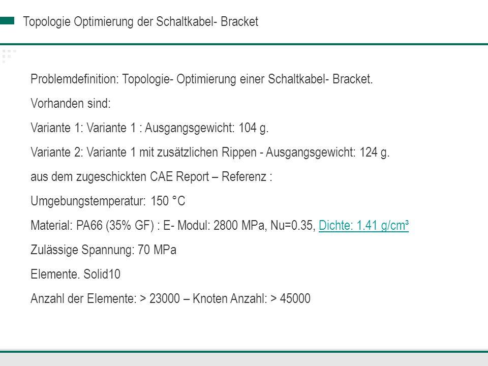 Problemdefinition: Topologie- Optimierung einer Schaltkabel- Bracket.