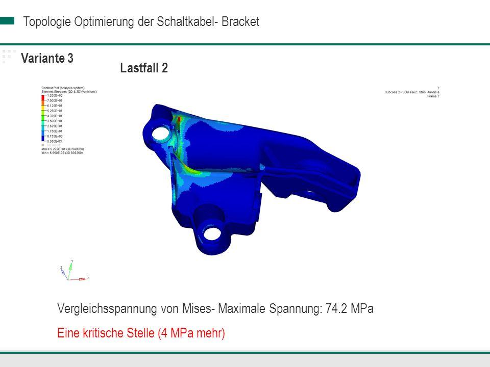 Variante 3 Lastfall 2. Vergleichsspannung von Mises- Maximale Spannung: 74.2 MPa.