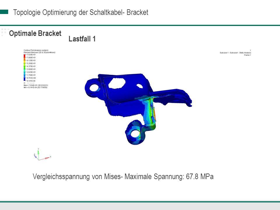 Optimale Bracket Lastfall 1 Vergleichsspannung von Mises- Maximale Spannung: 67.8 MPa