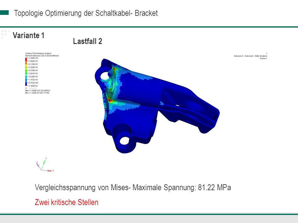 Variante 1 Lastfall 2. Vergleichsspannung von Mises- Maximale Spannung: 81.22 MPa.