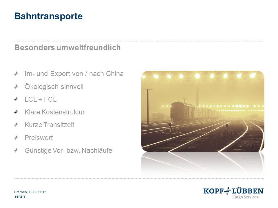 Bahntransporte Besonders umweltfreundlich