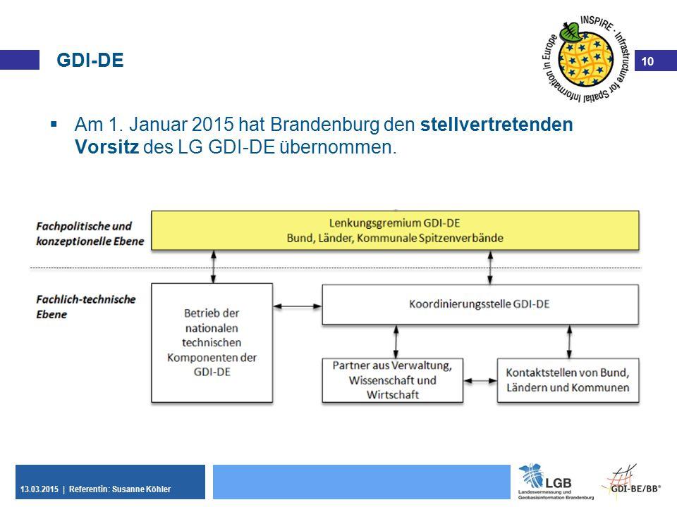 GDI-DE Am 1. Januar 2015 hat Brandenburg den stellvertretenden Vorsitz des LG GDI-DE übernommen.